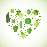 Heart shape with green fruits and vegetables Royalty Free Stock Image