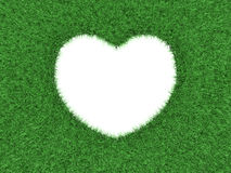 Heart shape in green grass. Heart shape cut out in green grass background 3d render stock illustration