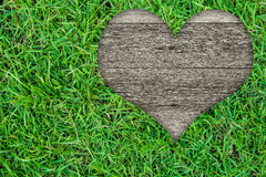 Heart shape on green grass Royalty Free Stock Image