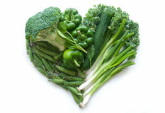 Heart shape green vegetables Royalty Free Stock Image