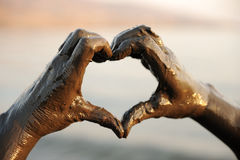Heart shape, hands with spa Royalty Free Stock Photography