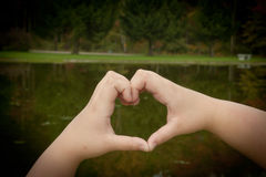 Heart Shape Hands On The Water Royalty Free Stock Photo