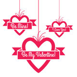 Heart shape hang tags set with greetings. Royalty Free Stock Photography