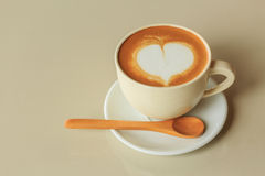 Heart shape in hot cappuccino coffee cup Stock Photo