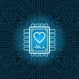 Heart Shape Icon On Chip Over Blue Circuit Motherboard Background. Vector Illustration vector illustration