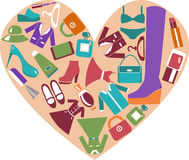 Heart shape with icons set of Fashion elements. Women's Clothing Stock Images