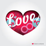 Heart shape Illustration with Love Concept stock illustration