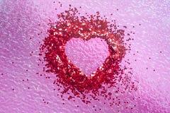 Heart shape inside art nail sticker on pink background Stock Image