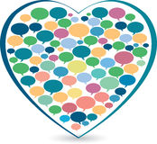 Heart shape inside speech symbol Royalty Free Stock Images