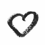Heart shape isolated. Heart shape outline drawn with a wax crayon isolated over the white background Royalty Free Stock Photography