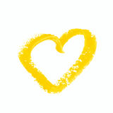 Heart shape isolated. Heart shape outline drawn with a wax crayon isolated over the white background Stock Photo