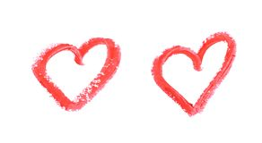 Heart shape isolated. Heart shape outline drawn with a wax crayon isolated over the white background, set of two different foreshortenings royalty free stock photo