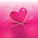 Heart shape with its reflection on colorful background to the Valentine's day. Royalty Free Stock Photography