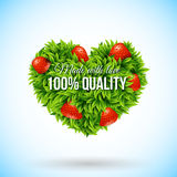 Heart shape label made of leafs. Business label. Vector illustra Stock Image