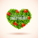 Heart shape label made of leafs. Romantic label. Vector illustra Royalty Free Stock Photos