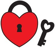 Heart shape lock or padlock with key for Valentine or Valentines Day. Stock Image