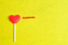 Heart shape lollipop with the words I love you Royalty Free Stock Image