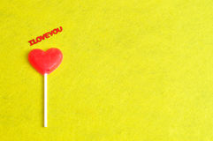 Heart shape lollipop with the words I love you Royalty Free Stock Photography