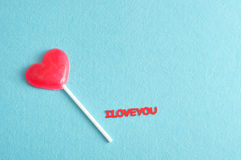 Heart shape lollipop with the words I love you Royalty Free Stock Photos