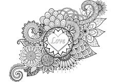 Heart shape and Love letters on beautiful flowers. For design element and adult coloring book page vector illustration