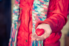 Heart shape love symbol in woman hands Valentines Day. Romantic greeting people relationship concept winter holiday Royalty Free Stock Photos