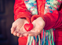 Heart shape love symbol in woman hands Valentines Day Royalty Free Stock Images