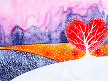 Heart shape love tree for wedding, valentines day, watercolor painting Stock Image
