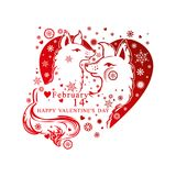 Heart shape with loving pair of cute dogs. Royalty Free Stock Image