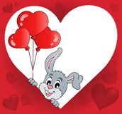 Heart shape with lurking bunny theme 2 Royalty Free Stock Photography