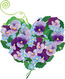 Heart shape is made of beautiful flowers - pansy a Stock Photos