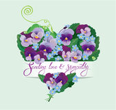 Heart shape is made of beautiful flowers Royalty Free Stock Photography