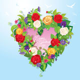 Heart shape is made of beautiful flowers - roses,  Royalty Free Stock Photos