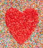 Heart shape made of candies Stock Photos