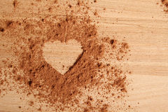 Heart shape made of cocoa Royalty Free Stock Images