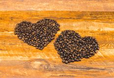 The heart shape made of coffee beans Stock Photo