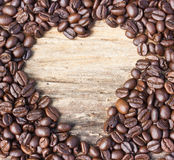 Heart shape made from coffee beans Stock Photo