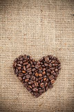 Heart shape made with coffee Stock Image