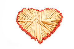 Heart shape made form group of matchstick Royalty Free Stock Photos