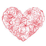 Heart shape is made of hand drawn beautiful flowers, isolated on Royalty Free Stock Image