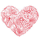 Heart shape is made of hand drawn beautiful flowers Royalty Free Stock Photos