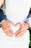Heart Shape made with Hands. Of a wedding couple Royalty Free Stock Photo