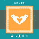 Heart shape made with hands. Graphic element for your design Royalty Free Stock Images