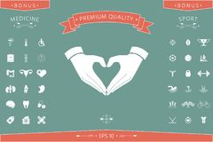 Heart shape made with hands. Signs and symbols - graphic elements for your design Stock Images