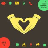 Heart shape made with hands. Signs and symbols - graphic elements for your design Royalty Free Stock Photos