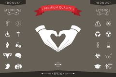 Heart shape made with hands. Signs and symbols - graphic elements for your design Stock Photography