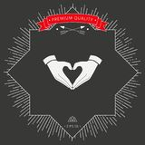 Heart shape made with hands. Signs and symbols - graphic elements for your design Royalty Free Stock Photo