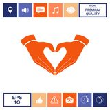 Heart shape made with hands. Signs and symbols - graphic elements for your design Royalty Free Stock Image