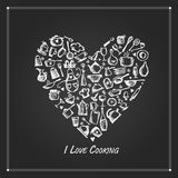Heart shape made from kitchen utensils, sketch drawing for your design