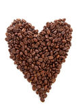 Heart shape made out of coffee beans Royalty Free Stock Photo