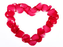 Heart shape made with petals Stock Photo